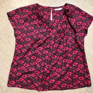 Boden Green Pink Floral Shirt Silk Blend